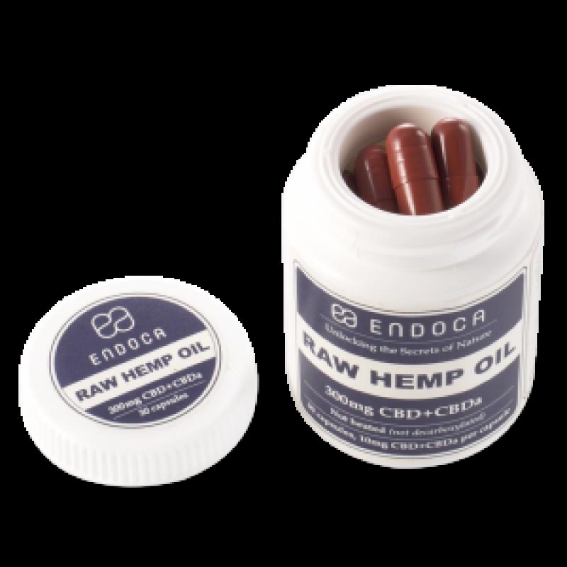 Endoca RAW CBD Hemp Oil Capsules 300 mg. CBD + CBDa